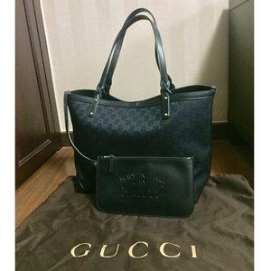 Gucci   Craft Medium Tote in Black Canvas + Clutch